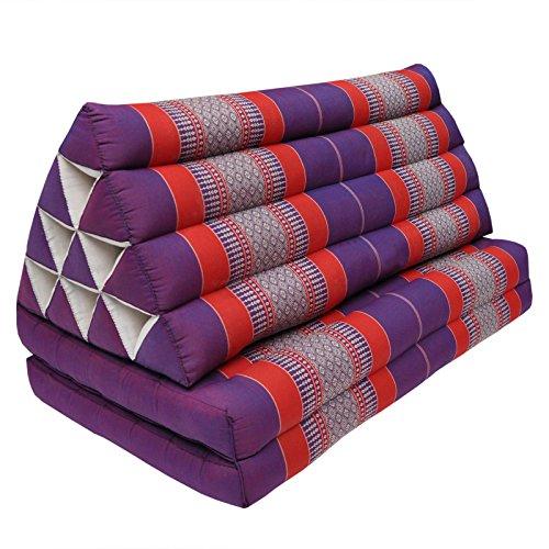 Wifash Coussin Thailandais Triangle XXL avec Assise 2 Plis, détente, Matelas, kapok, Fauteuil, canapé, Jardin, Plage Violet/Rouge (81517)