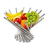 KWODE frutero Creativo, plegable, de acero inoxidable, como decoración para la cocina y mesa de comedor, color plateado, acero inoxidable, Plateado, A