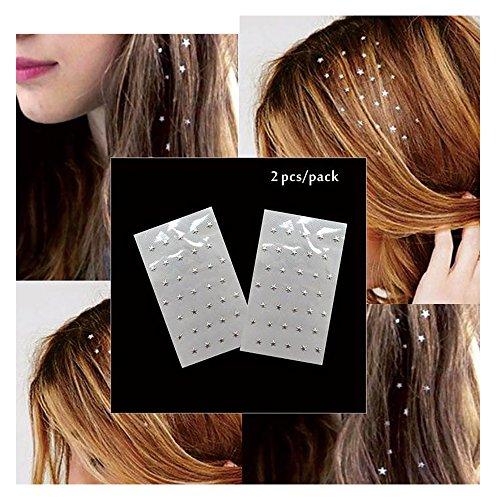 Cheveux Bijoux cheveux Charme autocollant Silberne astérisque 2 Sheet Pack
