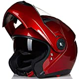 ILM 8 Colors Motorcycle Modular Flip up Dual Visor Helmet DOT (XXL, Red)
