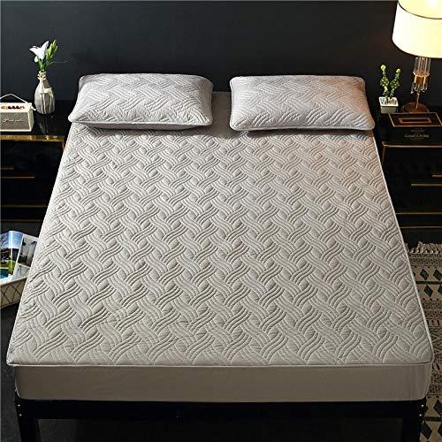 FFLDM Cubre colchón,Protector de colchón de algodón de Color sólido, sábanas Ajustables Antideslizantes Extra Gruesas, colchas de Hotel Individuales y Dobles-Grey_3_160x200 + 30cm