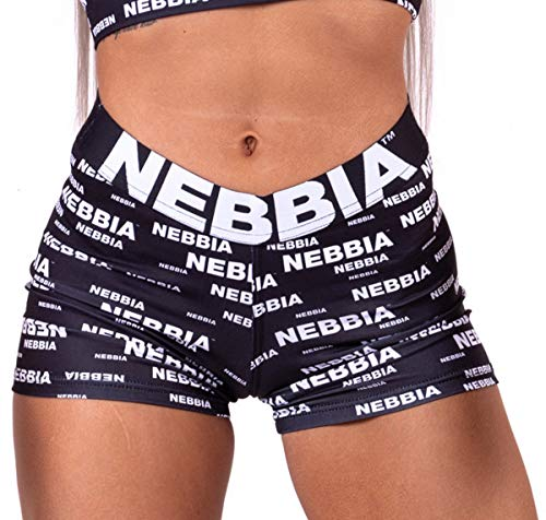 Nebbia x SEAQUAL Mini Shorts, Scrunch Butt Effect, Slightly Extended Cut of The Shorts, Elastic and Adaptable Material Made of Fibre Recycled from The Ocean Plastic, Color Black, Size XS