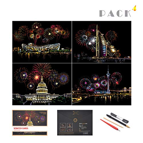 Scratch Painting Rainbow Paper by BOTEEN, Sketch DIY Art Craft City Series Night View Creative Gift, Scratchboard for Adults and Kids ,Craft Kits with 4 Tools (A4- 4pack)