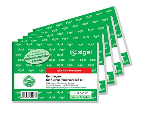 Sigel SD120Cuaderno de recibos para el pequeño empresario, con impresión de seguridad, autocopiativo, A6,horizontal [idioma español no garantizado] 5 unidades