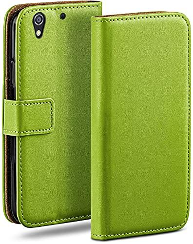 moex Klapphülle für HTC Desire 626G Hülle klappbar, Handyhülle mit Kartenfach, 360 Grad Schutzhülle zum klappen, Flip Hülle Book Cover, Vegan Leder Handytasche, Grün