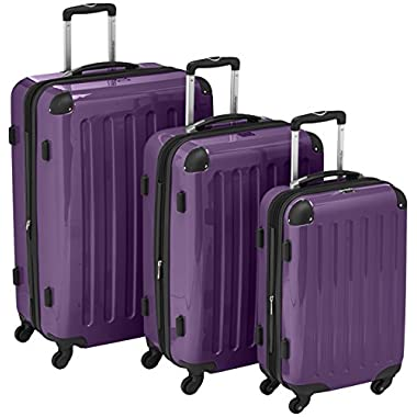 HAUPTSTADTKOFFER Luggages Sets Glossy Suitcase Sets Hardside Spinner Trolley Expandable (20', 24' & 28') TSA (Purple)