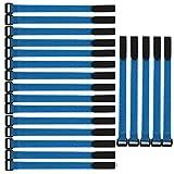 Gebildet 20 Piezas Reutilizables Ataduras de Cable en Calidad Premium, 2 × 30 cm Gancho y Lazo de Cable, Ajustable Correas para Cable, Tiras Bridas para Organizar Cables (Azul)