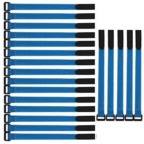 Gebildet Wiederverwendbare Klettkabelbinder, 20 pcs Befestigung Klett Kabelbinder, Klettverschluss Klettbänder mit Schnalle, Stark Kabelbinder mit Klettverschluss für Kabelmanagement (2×30cm, Blau)