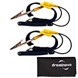 Safe ESD Anti Static Wrist Strap Band Wristband Ground Bracelet Anti Shock for PC Sensitive Components Electronics Repair - Grounding wire cord with Aligator Clip Black & Yellow By DREMINOVA