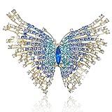 EVER FAITH Spilla Gioiello, Cristallo Austriaco Elegante Farfalla Insetto Animale Spilla Blu Chiaro Oro-Fondo