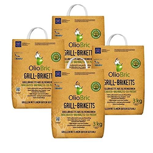 OlioBric Grill-Briketts aus Oliventrester 4X 3 kg I umweltfreundliche Oliven-Briketts - ohne giftige Zusatzstoffe I sauberes Grillen mit wenig Asche & Rauch - kaum Funkenflug I Grill-Kohle 12 kg