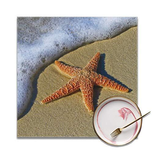 Houity Closeup foto van rode ster vis naast zee wasbaar zacht voor keuken diner tafelmat, gemakkelijk te reinigen handige opvouwbare opslag Placemat 12x12 inch Set van 4