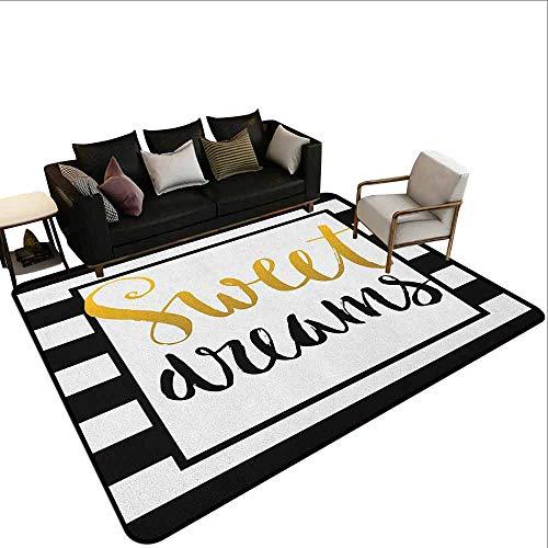 MsShe Conferentiekamer tapijt Sweet Dreams, Sweet Dreams en koffie in de ochtend hand getrokken tekst verf Splashes, zwart en wit