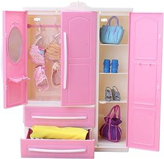 LICHENGTAI Armoire de Maison de Poupée Miniature, Vêtements de poupée Penderie Rêveuse Penderie Jouet Rose Meuble De Range...