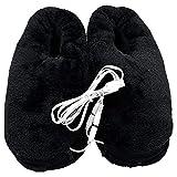 Scaldapiedi elettrico riscaldato, USB riscaldamento pantofole in peluche,Scaldapiedi invernale di artefatti,Risparmio energetico, sicurezza, mosto invernale (nero)