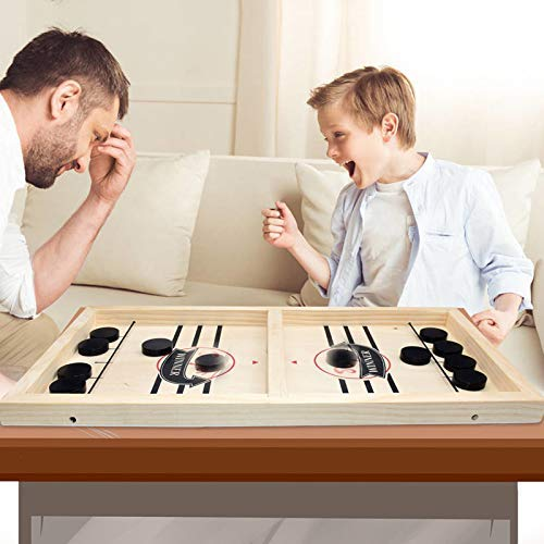 Wooden Hockey Game, Fast Sling Puck Game, Wooden Desktop Hockey Game for Kids and Adults, Table Desktop Battle 2 in 1 Ice Hockey Game, Parent-child Interactive Game Set for Family Party large size