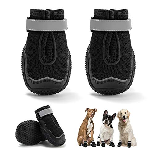 Dog Boots, Breathable Dog Shoes, Dog Booties with Reflective Rugged Anti-Slip Sole and Skid-Proof,...