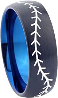 AnyaDesign 8mm Baseball Tungsten Ring, Bevel Edges Brushed Black, Rose Gold Dome Wedding Ring, Silver Step Edges Ring, Blue Tungsten Band,
