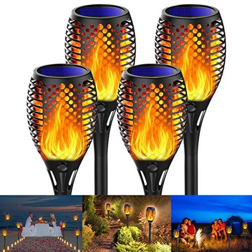 Fortand - Luces de llama solar, paquete de 4 luces LED de antorcha solar para jardín, impermeable, IP65, iluminación de antorcha solar para exteriores, encendido / apagado automático, llama solar para decoración, jardín, patio, senderos