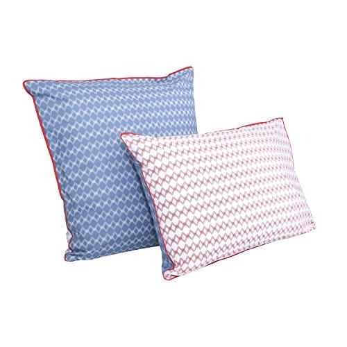 BLANC CERISE Zigzag Taie d'oreiller, Bleu, 65 X 65cm