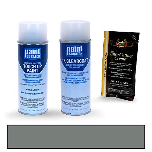 PAINTSCRATCH Touch Up Paint Spray Can Car Scratch Repair Kit - Compatible with Mercedes-Benz EQC Selenite Gray Metallic (Color Code: 992/7992)