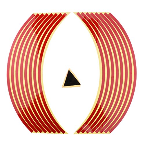 Sharplace Pegatinas Set Bandas Llantas Reflectantes para Vehículos - Rojo