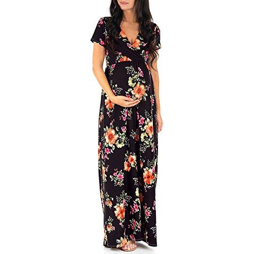 Homebaby Abito Lungo Premaman Estivo Elegante Mamma maternità Vestito Manica Corta Donna Abito da...