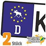 Elch - Elchhirsch Kennzeichen Aufkleber Sticker Nummernschild - IN 15 Farben
