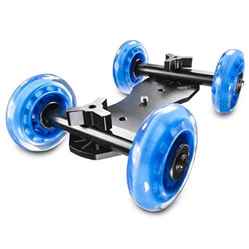 Walimex Pro Dolly Trike Board voor DSLR, camcorder en systeemcamera, Dolly Mini Quad Board, zwart, blauw