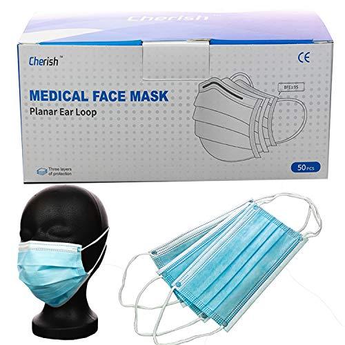 Cherish 50 Masken Typ IIR Mund-Nase-Schutz Mundschutz Tüv geprüft 3-lagig mit Vlies und Nasenbügel
