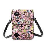 Bolso de piel con diseño de unicornio rosa y huevos escalfados para el teléfono móvil, bolso de hombro para mujer, bolso de hombro con correa ajustable