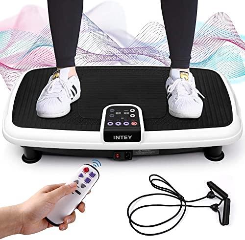 INTEY Plataforma Vibratoria de Fitness Multifuncional, 2 Bandas Elásticas/ 3 Zona de Vibración/ 20 Clases de Velocidad, Control de Pantalla/Control Remoto