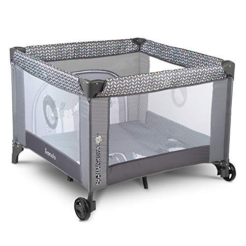 Lionelo Sofie Parque para bebés De viaje 100 x 100 x 76 cm Para niños de hasta 15 kg Perfecto en casa y de vacaciones Sistema de plegado seguro Bolsa incluida Gris