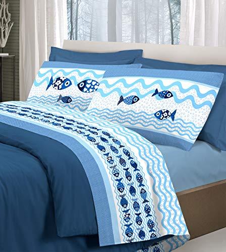 Set Lenzuola Letto Fantasia Mare Marina | Completo in Cotone Made in Italy Stampa Pesci Pesciolini| Lenzuolo sopra + sotto con Angoli + Federa/e con Stampa in Entrambi i Lati | - 1 piazza - Blu