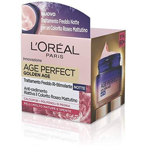 L'Oréal Paris Crema Notte Age Perfect Golden Age, Trattamento Fortificante, Adatto a Pelli Mature, 50 ml
