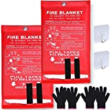 Sportneer 2 Pack Fire Protection Blanket, Fiberglass Fire Emergency Blanket Fire Suppression Blanket Flame Retardant Survival Safety Cover for Kitchen,Camping, Fireplace, Car, Office, 39.3''x39.3''