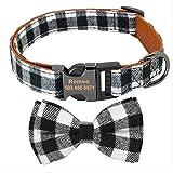 UDstrap Collar De Perro Personalizado Custom Dog Nameplate Collares con Collares De Mascotas Ajustables Bowtie para Perros Medianos Grandes Grabado Gratis S Negro