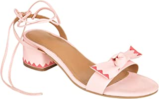 Chumbak Chevron Bow Pink Lace Up Heels
