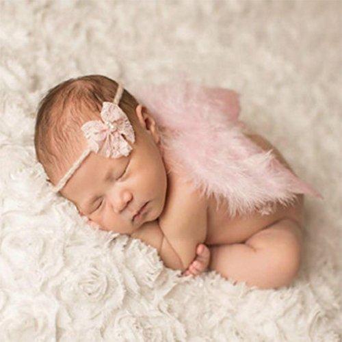 on brand Qingfaqui Baby-Foto-Satz, Baby-Newborn Winkel Feder-Flügel und Stirnband-Fotografie Prop-Klage-Kind-Kleidung-Klage