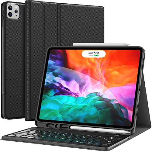 Keyboard Case for iPad Pro 12.9 2020 4th Generation, iPad Pro 12.9 Case with Keyboard 3rd Generation 2018 - Wireless Detachable - with Pencil Holder - iPad Pro 12.9 inch Keyboard Case, Black