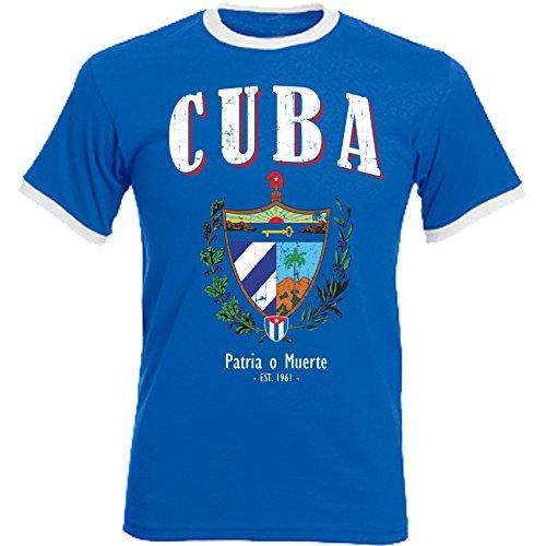 aprom Kuba Cuba Ringer T-Shirt Fußball Trikot D04 Royal (L)