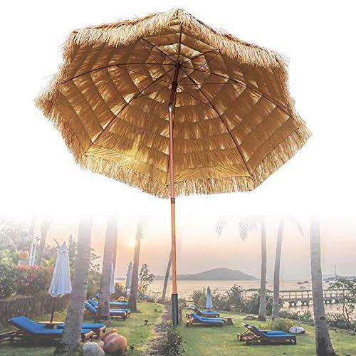 DFBGL Sombrilla de Paja Tiki de 210 cm / 6,9 pies, sombrilla de Playa de Rafia Tropical con inclinación de Hula, Estilo Hawaiano, para Jardines al Aire Libre, Piscina, balcón, Patio, som