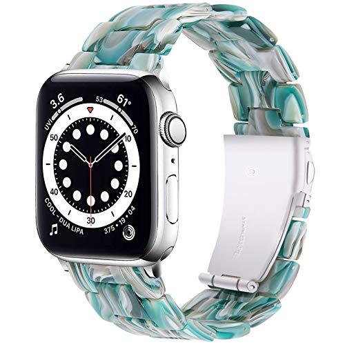 Miimall Correa de Resina Compatible con Apple Watch Series 6SE/5/4/3/2/1 40mm 38mm, Correa de Resina con Hebilla de Acero Inoxidable Pulsera de Repuesto para iWatch 40mm 38mm - Facebook Verde