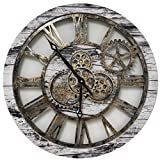 ImprovingLife 24'' Inch Real Moving Gear Wall Clock Vintage Industrial Oversized Rustic Farmhouse (Vintage Grey)