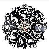 zhangfuhe Disques Vinyle Horloge Murale Décor À La Maison LED Musique Dinosaure Encyclopédie Lampe Murale Rétro Cadeau pour Hommes Femmes Cartoon Anime