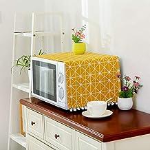 Cubierta de lino de estilo moderno Cubierta a prueba de polvo de microondas Campana de horno de microondas Decoración del hogar Toalla de microondas con bolsa Suministros para el hogar amarillo
