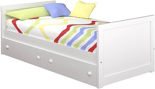 hermoso Cama Infantil Recto con cajones (Colchón de 90 x 190, 190, 190, blanco)  barato y de alta calidad