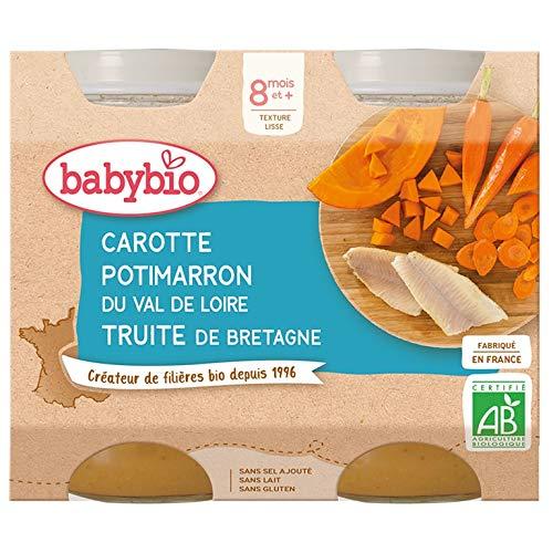 Babybio - Petits Pots Carotte Potimarron Truite de Bretagne 2x200 g - 8+ Mois - BIO