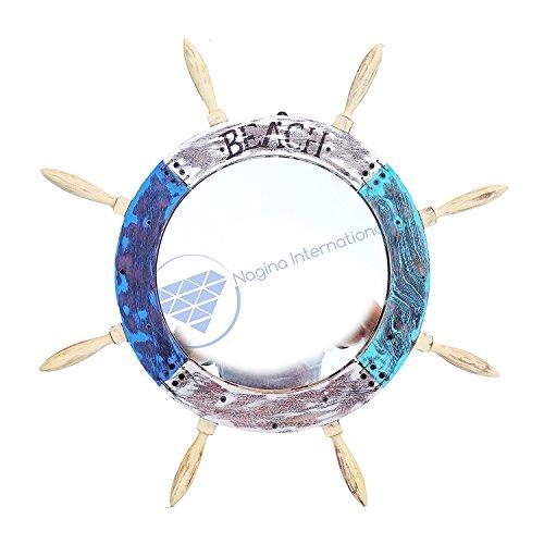 Nagina International Miroir de roue de vaisseau vintage peint Bleu vieilli, Bois dense, Blanc, gris, noir, blanc clair., 48 Inches