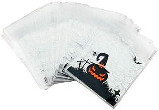 SharpointHome 100 Pcs Halloween Pumpkin Cookies Self-Adhesive Bag Ghost Elf Candy Bag Snack Bag